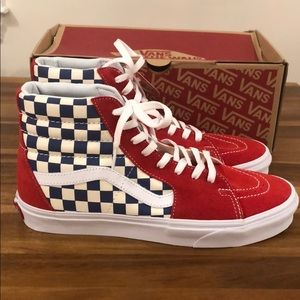 Vans sk8-hi bmx checkerboard true blue and red